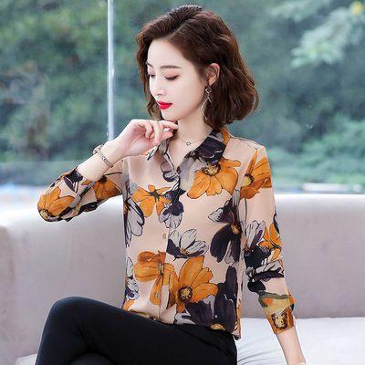 印花衬衫女长袖春夏装2020新款韩版雪纺衫妈妈短袖衬衣百搭打底衫