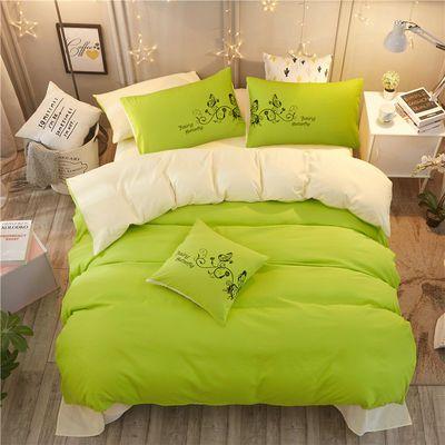 纯色简约四件套水洗棉1.5米1.8双人床单被套1.0m学生磨毛三件套厚