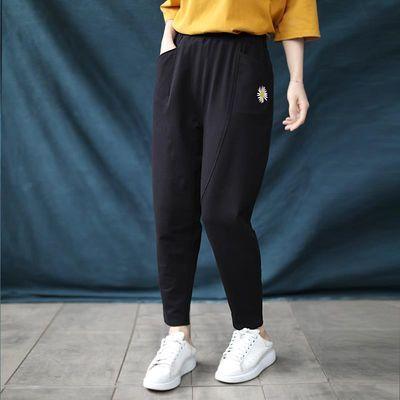 晓说超赞裤型韩版休闲宽松显瘦刺绣图案哈伦裤长裤萝卜裤2020春夏