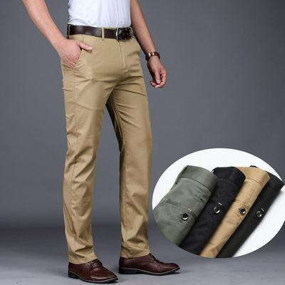 休闲西裤男薄款夏季黑色商务直筒宽松弹力高腰中年男式西裤