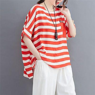 纯棉2020夏季新款韩版大码女装圆领宽松显瘦体恤简约条纹短袖T恤
