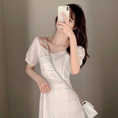 2020新款春夏季小个子超仙女连衣裙气质显瘦收腰港风白色蕾丝裙子