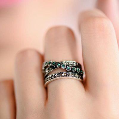 欧美复古戒指女食指时尚个性绿水晶钻韩版潮饰品夸张编织镀银指环