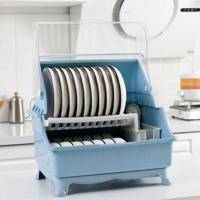 厨房放碗筷收纳盒家用碗碟沥水碗架带盖装碗柜盘子餐具双层储物箱