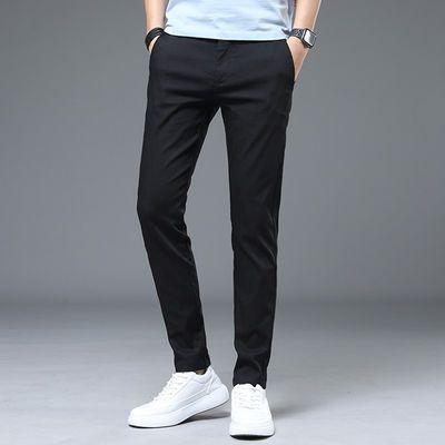 夏季休闲裤男修身长裤男裤2020新款男士西裤小脚春夏薄款黑色裤子