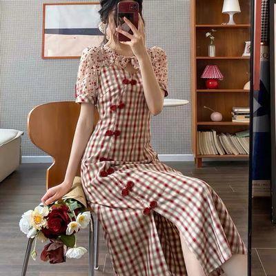 40471/Dear Nana改良旗袍连衣裙女夏格子修身长裙复古气质显瘦显高裙子