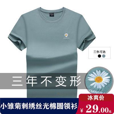 短袖t恤男青年衣服休闲潮流夏季新品纯棉烫钻绣花体恤衫上衣男装