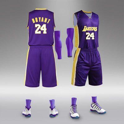 湖人球衣24号定制篮球服套装男23号训练比赛队服儿童篮球服印字