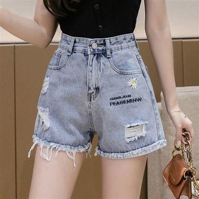 小雏菊牛仔短裤女2020夏季新款韩版宽松高腰显瘦浅蓝色阔腿裤热裤