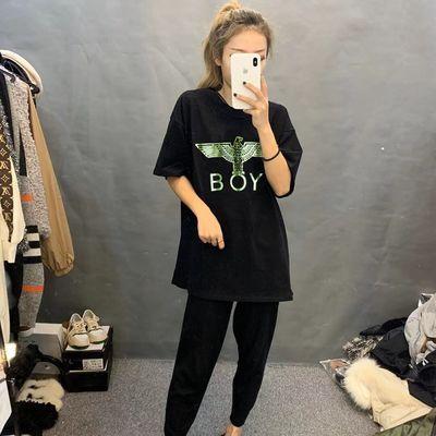 快手网红同款半袖短袖t恤女学生韩版宽松BOY潮牌上衣社会夏季衣服