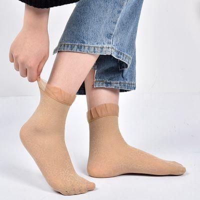 花边丝袜女薄款短春秋款黑肉色韩国日系学生蕾丝短袜子透明水晶袜