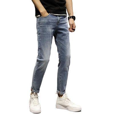 浅蓝色牛仔裤男2020夏新款韩版潮弹力宽松直筒男款修身休闲裤子薄