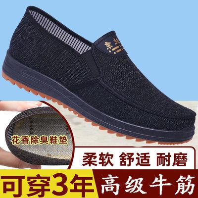 老北京布鞋男中老年牛筋底防臭鞋子男中年人爸爸鞋老人男鞋工作鞋