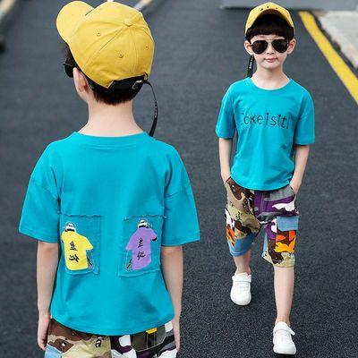 男童夏装套装2020新款儿童短袖两件套夏季中大童男孩T恤迷彩短裤