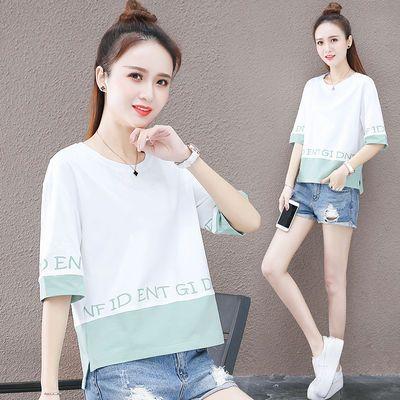 短袖t恤女2020新款潮短款上衣女韩版宽松显瘦五分袖夏季女装上衣