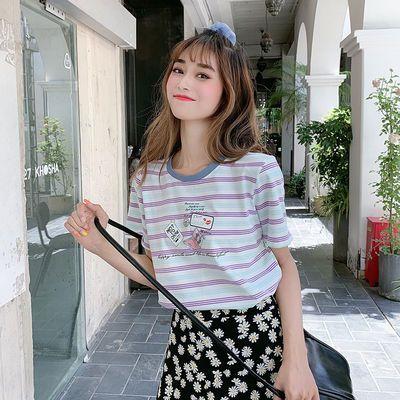 95棉条纹短袖t恤女2020年夏季韩版宽松学生印花半袖上衣日系衣服