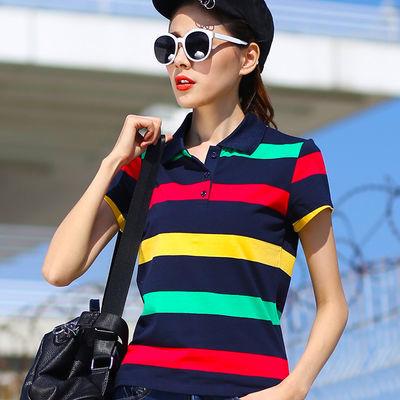 纯棉彩虹条纹翻领t恤女士短袖运动夏上衣宽松有领休闲半袖POLO衫