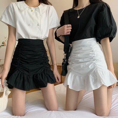 褶皱鱼尾半身裙2020女新气质性感高腰显瘦包臀桔梗荷叶边a字短裙