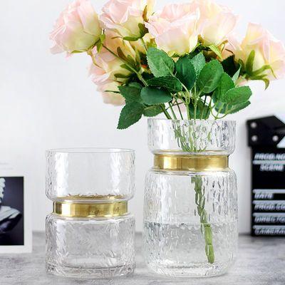 高档透明欧式玻璃花瓶金色铜圈收腰花瓶家居摆件大中小号水培器皿