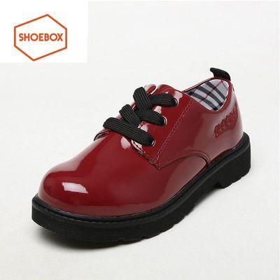 SHOEBOX/鞋柜 春秋女童鞋儿童鞋公主风演出鞋系带黑色休闲小皮鞋