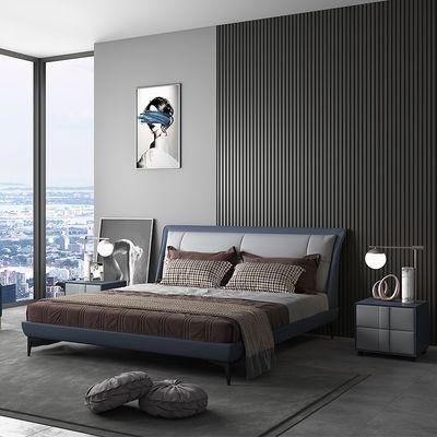 高档豪华双人床成人主卧单人床真皮床现代简约轻奢床2020新款床