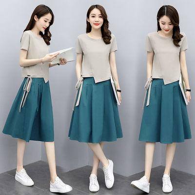 棉麻连衣裙短袖女装2020夏季新款韩版大码宽松休闲文艺亚麻套装裙