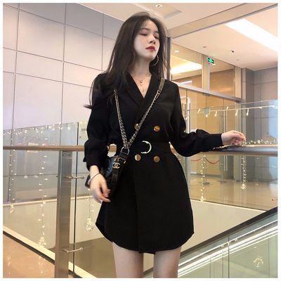 胖mm大码女装2020春装新款长袖连衣裙小西装双排扣显瘦黑色外套女