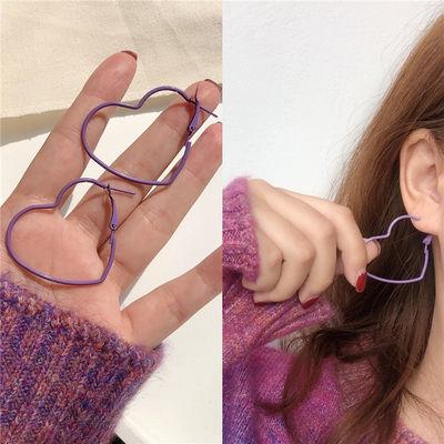 紫色的心可爱心形耳圈欧美蹦迪夸张桃心韩国气质耳环耳饰女耳夹