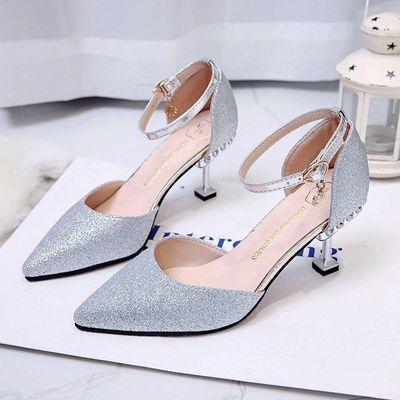 高跟凉鞋女细跟黑色高跟鞋女气质新款一字扣中空银色百搭夏季单鞋