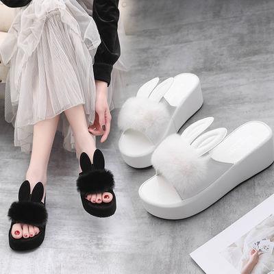 2020夏季新款韩版兔子耳朵凉拖鞋女厚底时尚平底防滑外穿毛毛拖鞋