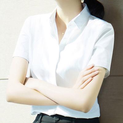 2019年夏装新款职业雪纺白衬衫女短袖OL设计感韩范职业衬衣工作服