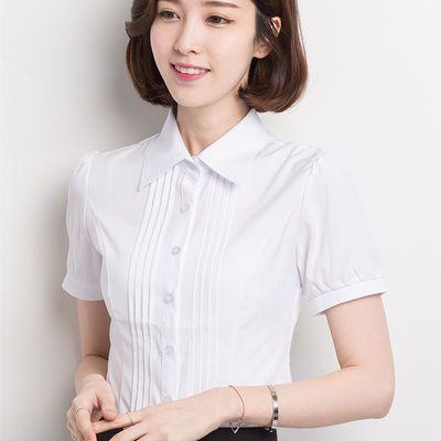夏装韩版白色短袖衬衫女修身学生工装OL职业工作服大码雪纺衬衣