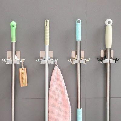 免打孔拖把架 挂钩强力粘胶扫把挂架浴室家用免钉壁挂式拖把夹子