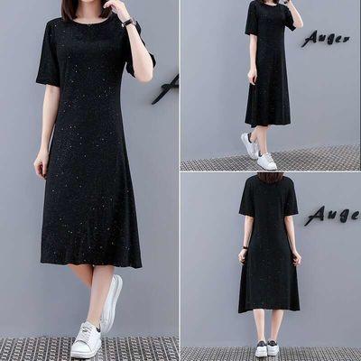 星空闪闪连衣裙女2020夏新款舒适透气宽松显瘦遮肚长款黑色雪纺裙