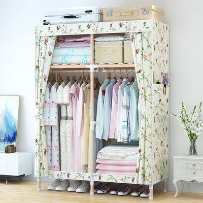 简易衣柜实木非钢管防尘组装加粗折叠牛津布艺衣架简易儿童现衣橱