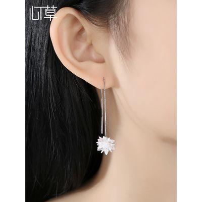 冰花纯银耳线女高级感长款气质耳环韩国网红雪花耳链2020新款潮