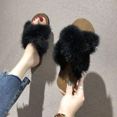 毛毛拖鞋女外穿2020新款兔毛ins潮鞋春季家用兔毛棉拖鞋子秋夏季