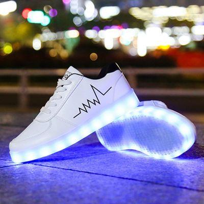 春夏亲子发光鞋USB充电夜光鞋led亮灯鞋男女童运动鞋七彩灯闪光鞋