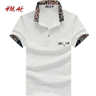 夏季新款男装短袖t恤衬衫领polo衫中青年潮流韩版翻领衣服男上衣