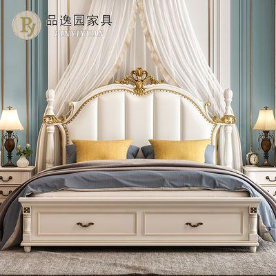 美式实木双人床1.5/1.8米公主床香槟金雕花轻奢软包高背主卧婚床