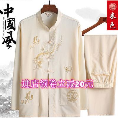唐装夏季爸爸套装中老年人长袖套装中国风男装爷爷套装汉服复古风
