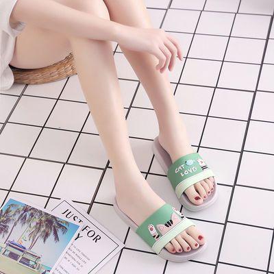 网红卡通猫吃鱼拖鞋男女情侣夏季居家洗澡防滑软底AB面沙滩拖新款