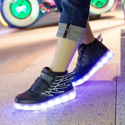 春夏儿童发光鞋男童USB充电亮灯鞋女童led闪光灯鞋夜光鞋带灯童鞋