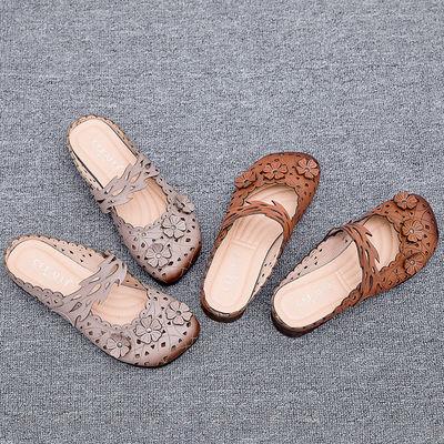 头层牛皮包头半拖鞋妈妈鞋真皮软底女防滑牛筋底中年女夏季款凉拖