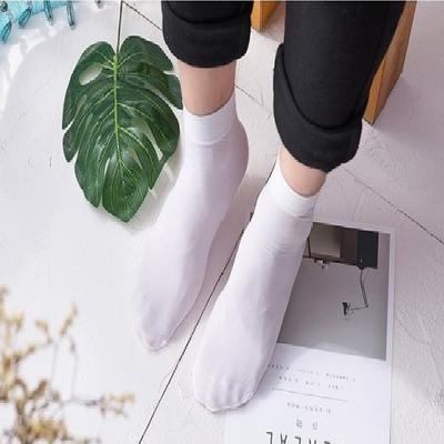 1030装春夏季男士丝袜超薄款短袜子防臭丝光棉中筒袜黑白色男袜