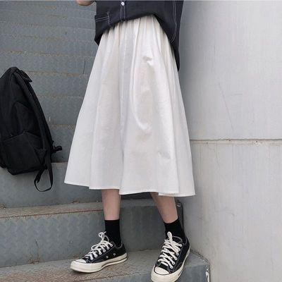 宽松长裙工装裙女半身裙2020春秋夏新款韩版高腰百搭女学生A字裙