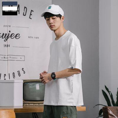 GBOY夏季新款潮流纯色短袖T恤男简约复古宽松打底衫日系青年TEE