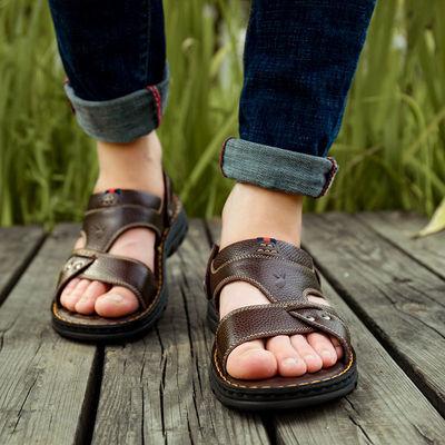 【花花公子贵宾】【头层牛皮】真皮凉鞋男夏牛皮沙滩鞋男士凉拖鞋