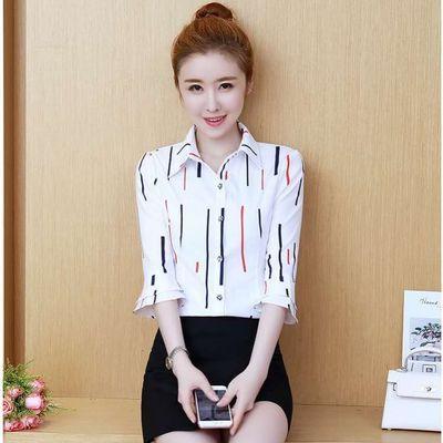 2020韩版夏季女装新款条纹长袖七分袖喇叭袖百搭雪纺衬衫女上衣