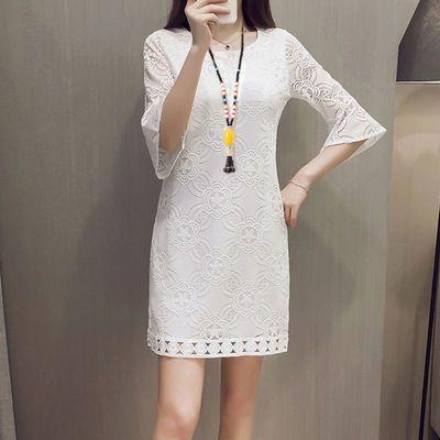 蕾丝连衣裙大码女装七分袖200斤胖mm夏季中长款打底裙子显瘦藏肉